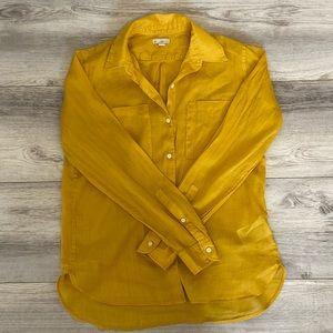 Gap Yellow Linen Button-Down Shirt XS